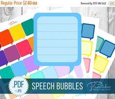 SALE Speech Bubble Printable Planner Stickers by FleurStickers