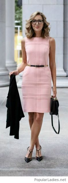 Pink office dress with black details