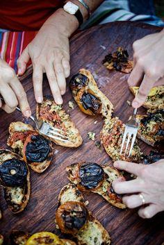 Grilling time: Stuffed & Grilled Tomatoes on Garlic Ciabatta #recipe by @texasfarmhouse #vegetarian