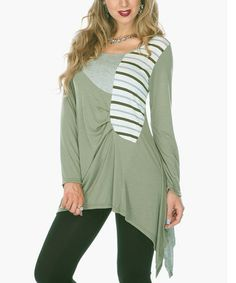 Take a look at this Olive Stripe Tunic by Lily on #zulily today!