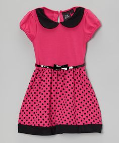 Take a look at this Hot Pink & Black Polka-Dot Bow Dress - Girls on zulily today!