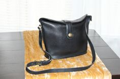 Vintage 1970s Coach Black Leather Handbag -- Handbags - Inspirations by Rebecca -- vintage Coach bag -- www.inspirationsbyrebecca.com
