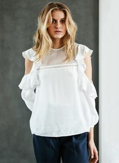 #Oasap - #oasap Off Shoulder Long Sleeve Hollow out Pullover Blouse - AdoreWe.com