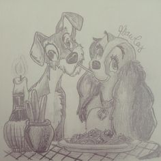 Lady and the Tramp drawing.
