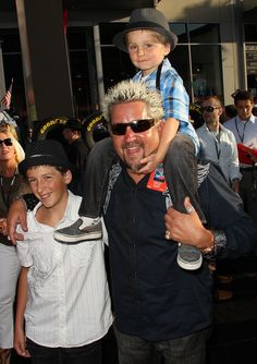 """Guy Fieri with his family at Premiere Of Walt Disney Pictures' """"Cars 2"""""""