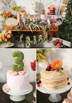 CREPE CAKE woodland birthday party dessert table and cakes