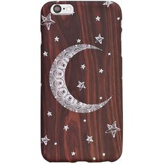 Henna Moon Woodgrain Iphone 6 Plus Case ($11) ❤ liked on Polyvore featuring accessories, tech accessories and brown
