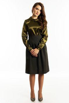 Khaki green skirts with pleats