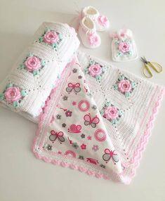 by 🌈yorum kismina gormesini istedigin bir arkadasini etiketle! Granny Square Crochet Pattern, Crochet Blanket Patterns, Baby Blanket Crochet, Crochet Baby, Crochet Quilt, Crochet Motif, Crochet Stitches, Crochet Crafts, Crochet Projects