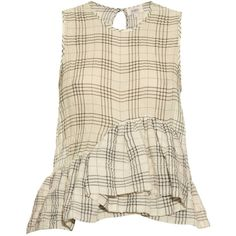Isa Arfen Ruffle-trimmed cotton-blend top (4 205 ZAR) ❤ liked on Polyvore featuring tops, blouses, white black, plaid crop top, plaid ruffle blouse, cropped tops, ruffle crop top and asymmetric top