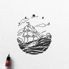 A ship sets sail on rough seas in this #nautical #blackworks #illustration by Dario Anza (@ariarosso). Can this three-masted vessel maintain its course through the cresting gauntlet of salty waves? It's great how Dario has given us a rough frame around this scene, where the moon phases outline the sky and the black seas complete the outline on the bottom. It's like we're peering through a looking glass at a distant voyage… which actually makes me wonder if the moons at the top of the scene…