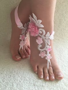 Free Ship White pink floral  lace barefoot sandals Beach wedding barefoot sandals, Flexible wrist lace sandals, Sandals
