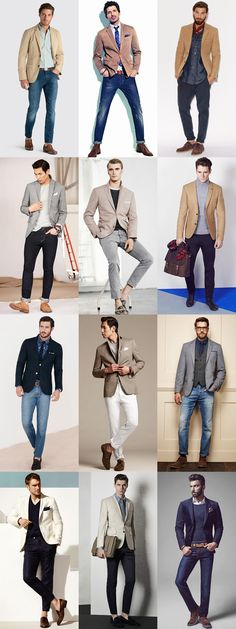 Men's Business-Casual Lookbook - Tan/Beige Blazers & Grey/Navy Jackets With Jeans
