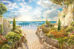 Бесшовная фреска с уличным пейзажем