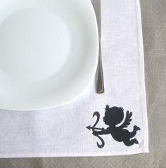 Wedding Napkins, White  Linen Napkin, Eco-Friendly, Lunch Napkin, Cloth Table Napkins, Dinner Napkins, napkin with angel on Etsy, $5.00