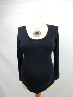 Black Long Sleeve Top w/ Ruched Sides-XSmall