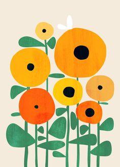 geometric planting Illustration - Sunflower and Bee Art Print by budikwan Motif Art Deco, Bee Art, Painting Inspiration, Flower Art, Simple Flower Painting, Illustration Art, Sunflower Illustration, Floral Illustrations, Canvas Art