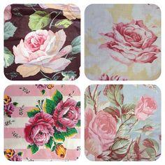 Vintage rose fabrics.