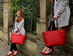 Mango Red Tote Bag, Zara Red Studded Heels, Burberry Inspired Trench Coat, H&M Black Embroided Pants, Persun Zebra Print Shirt Retro Outfits, Vintage Outfits, Vintage Clothing, Red Tote Bag, Yellow Blouse, Casual Bags, 1950s Fashion, Lord & Taylor, Cloth Bags