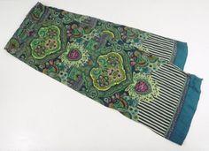"""Oilily Scarf Flower Goa Shawl Viscose Rayon India 10"""" x 60"""" Blue Green Pink #Oilily #scarf #oililyscarf #flowergoascarf #oililywoman"""