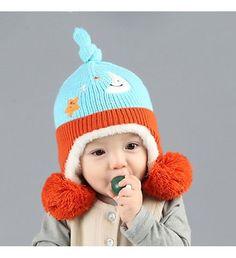 Dcost Rust & Aqua Blue Acrylic Fiber Hat For Kids1246 #Rust #AcrylicFiber #Unisex