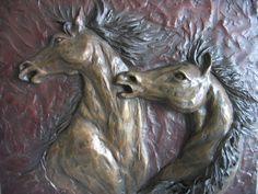 WILD MUSTANGS  Bronze Relief plaque  Wall piece by mapietreasures, $1500.00