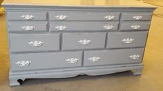 Beautifully painted chest with our Palace Gray and painted handles with our White Ash