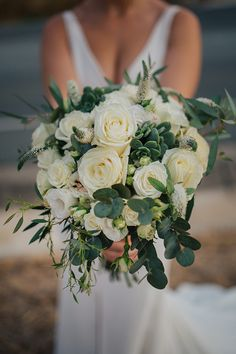 Destination intimate wedding in Paphos with rustic details White Roses, White Flowers, White Table Settings, All White Wedding, Small Bouquet, Wedding Colours, Paphos, Beautiful Wedding Venues, Bridal Bouquets