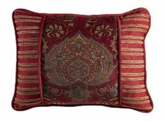 HiEnd Accents Lorenza Printed Velvet Pillow, 16-Inch by 21-Inch