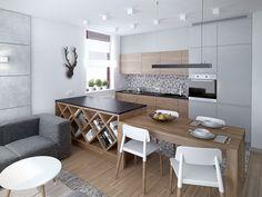 moderne Küche in Gra und Holz - geometrische Fliesen für Wand und Boden