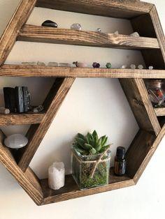 Large Crystal display shelf hexagon shelf display by Lovelifewood