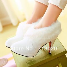 White fur boots fashion single boots plus size boots winter women's shoes high heel wedding shoes 2013 ankle boots new arrival