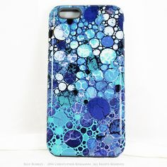 """Blue and White Abstract iPhone 6 6s TOUGH Case - """"Blue Bubbles"""" Artistic Case For iPhone 6"""