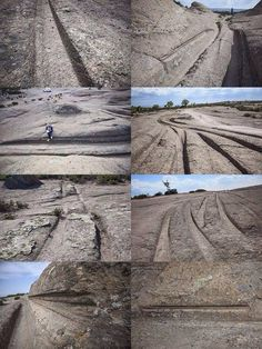 Ruts in stone, Turkey.  This layer of stone was initially a field of volcanic ash, subsequently petrified.