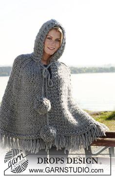 "DROPS poncho with hood and pompoms in 2 threads ""Eskimo"". Size S - XXXL. Yarn alternative 1 thread ""Polaris"". ~ DROPS Design"
