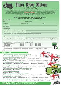 Client Survey with voucher incentive.