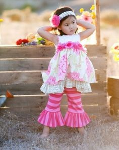 """Giggle Moon """"Precious Jewel"""" Madison Floral Dress With Stripe Ruffle Pants Two Piece SetSizes 12m - 6X - click to enlarge"""