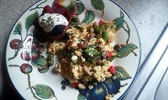 Vegetable Scrambled Eggs with Fruit Filled Bacon Bowls