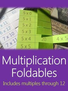 Multiplication foldables for mastering multiplication facts! No more losing math flashcards. Shows commutative property. Perfect math centers, practice homework, or print at 85% for interactive notebooks (ISNs). Multiplication facts 0 through 12. #Teachering