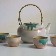 Art Deco. Karlsruher Majolika ceramic tea service. 1920 - 1930 AND THEY'RE TEAL, WIN-WIN!