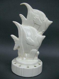 Art Deco Redwing Art Pottery Tropical Fishes Aquatic Figure Figural Flower Frog