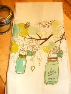 Mason Jars and Flowers hanging from a Tree Kitchen Towel, Tea Towel, Flour Sack Design 001. $15.99, via Etsy.