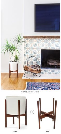 @2Modern Case Study Ceramic Planter with Wood Stand $149 Vs Modern Minimal Plant Stand $60