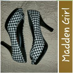 On Trend Houndstooth! Super cute open toe heels from Madden Girl.  Houndstooth design.  Heels 4in with platform of 0.5 in.  Inner sole is red.  NWOT.  Only worn to try on.   Sz 8.5.   No stain or marks.  Excellent condition.  From smoke free home. Madden Girl Shoes Platforms