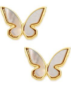 kate spade new york 14k Gold-Plated Mother-of-Pearl Butterfly Stud Earrings - Fashion Earrings - Macy's