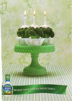 Let them eat cake. er broccoli that looks like cake? Hidden Valley is launching a new ad campaign aimed at getting your kids to eat Food Advertising, Creative Advertising, Print Advertising, Street Marketing, Guerilla Marketing, English Posters, Advertising Techniques, Ad Of The World, Great Ads