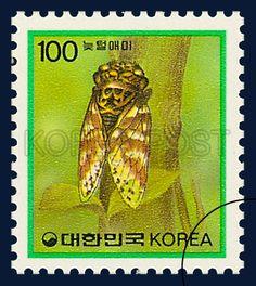 DEFITIVE POSTAGE STAMP (IMSECTS), Cicadas neuteol, Insect, Yellow, Green, Brown, 1991 04 08, 보통우표, 1991년04월08일, 1635, 늦털매미, postage 우표