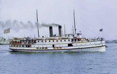 Massachusetts. Steamboat. Colorized by Steve Smith. Colorized History, Steve Smith, Steamboats, Historical Photos, Cape Cod, Massachusetts, Sailing Ships, Vintage Photos, Cod Fish