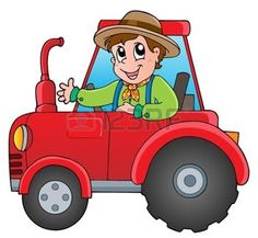 Agriculteur de bande dessin�e sur le tracteur - illustration vectorielle photo