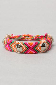 Harlett The Studded Friendship Bracelet in Pink Multi and Silver : Karmaloop.com - Global Concrete Culture